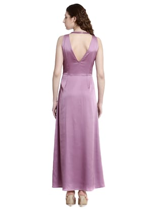Purple solid gown dress - 14497710 - Standard Image - 3