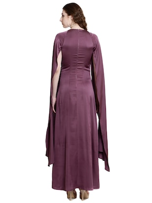 purple poly lycra gown dress - 14497712 - Standard Image - 3