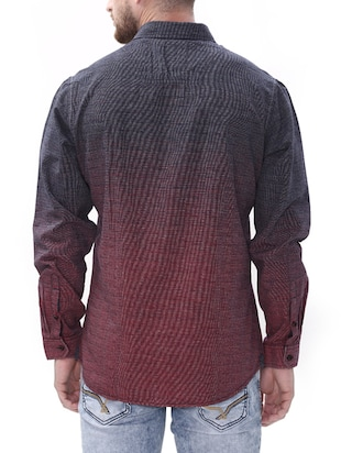 maroon cotton casual shirt - 14498573 - Standard Image - 3