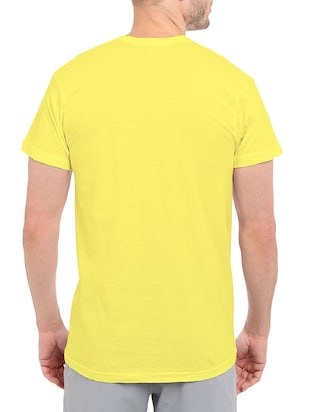 yellow cotton chest print tshirt - 14498663 - Standard Image - 3
