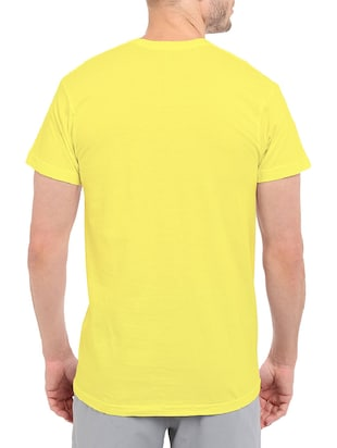 yellow cotton chest print tshirt - 14499490 - Standard Image - 3