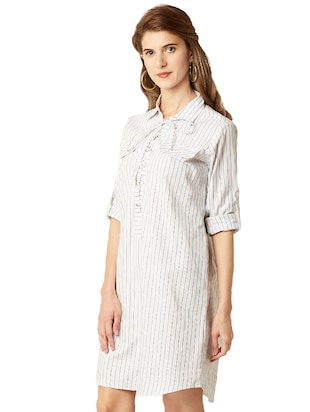 eyelet lace-up striped shift dress - 14499522 - Standard Image - 3