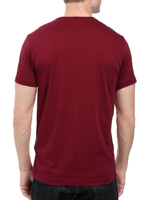 maroon cotton chest print tshirt - 14501608 - Standard Image - 3