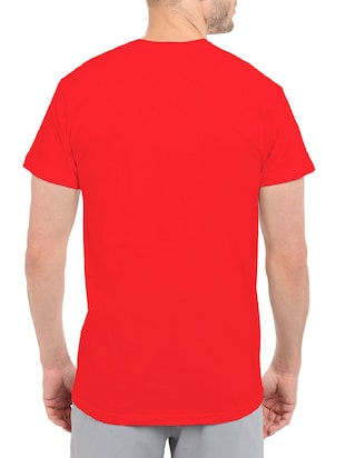 red cotton chest print tshirt - 14501680 - Standard Image - 3