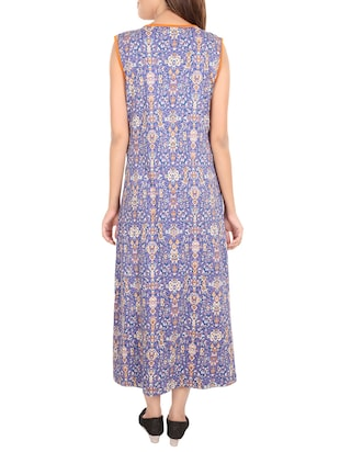 blue printed cotton gown - 14502084 - Standard Image - 3