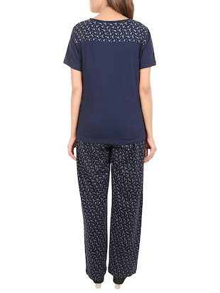 blue printed nightwear set - 14502085 - Standard Image - 3