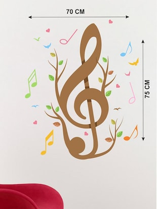 Creatick Studio Music Notes Birds & Hearts Wall Sticker Standard Size - 75Cm X 70Cm  Color - Multicolor - 14503921 - Standard Image - 3
