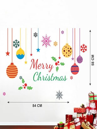 Creatick Studio Merry Christmas Colorful Snow , Candy , Gifts Wall Sticker Standard Size - 58 CM X 83 CM  Color - Multicolor - 14503934 - Standard Image - 3