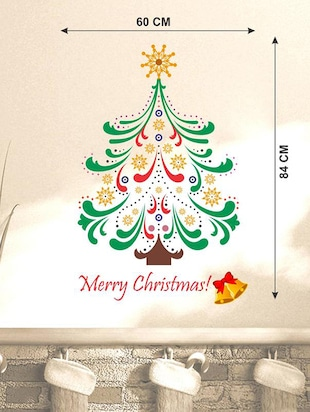 Creatick Studio Merry Christmas Tree Colourful Wall Sticker Standard Size - 84 CM X 60 CM  Color - Multicolor - 14503940 - Standard Image - 3