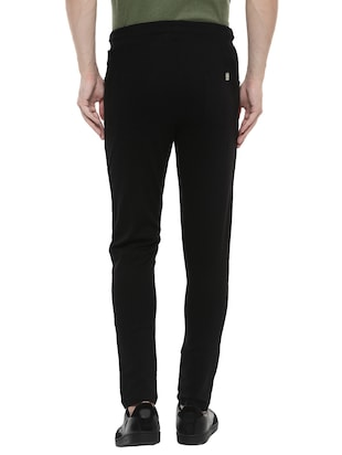 black cotton  full length track pant - 14504450 - Standard Image - 3