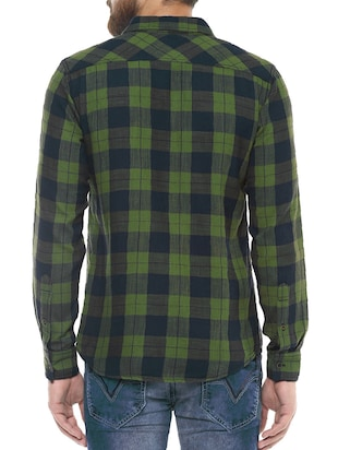 green cotton casual shirt - 14504677 - Standard Image - 3