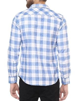 blue cotton casual shirt - 14504711 - Standard Image - 3