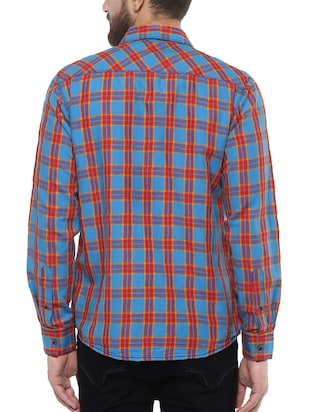 blue cotton casual shirt - 14504724 - Standard Image - 3