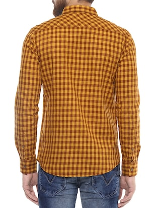 yellow cotton casual shirt - 14504730 - Standard Image - 3
