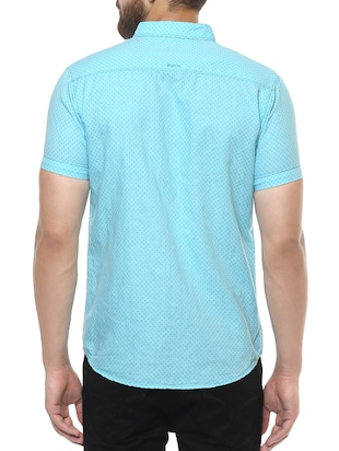 blue cotton casual shirt - 14504767 - Standard Image - 3