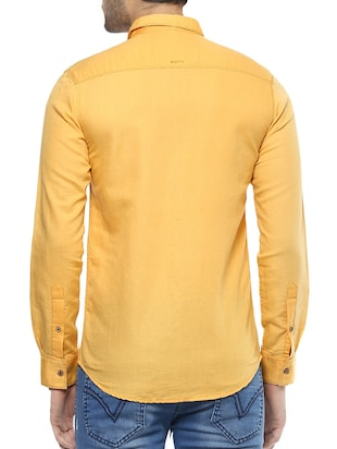 yellow cotton casual shirt - 14504783 - Standard Image - 3