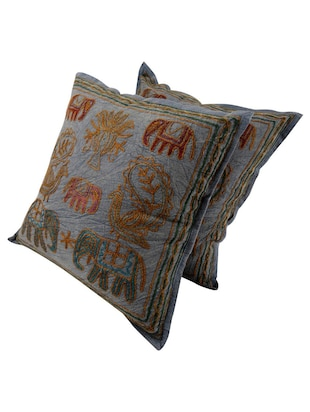 Cotton Embroidered Set of 2 Cushion Covers - 14505766 - Standard Image - 3