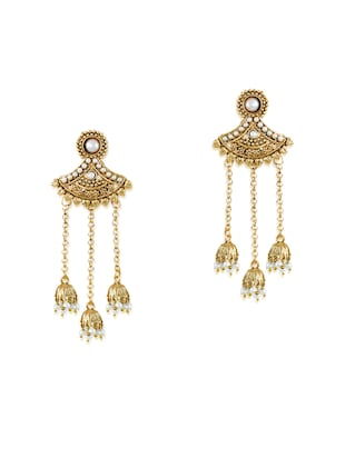 gold zinc jhumka earrings - 14506066 - Standard Image - 3