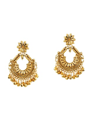gold zinc chandballi earrings - 14506145 - Standard Image - 3