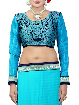 blue georgette bordered saree with blouse - 14506431 - Standard Image - 3
