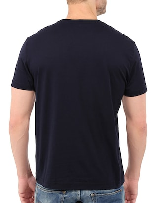 navy blue cotton chest print tshirt - 14506437 - Standard Image - 3