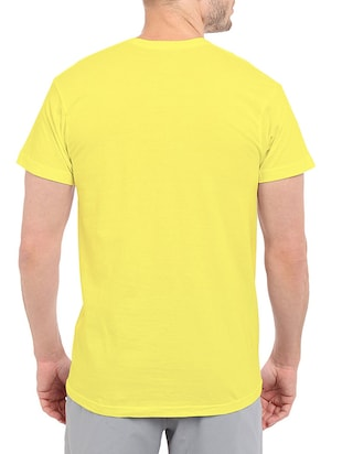 yellow cotton chest print tshirt - 14506441 - Standard Image - 3