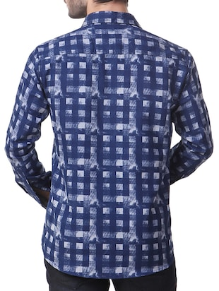 blue cotton casual shirt - 14510377 - Standard Image - 3