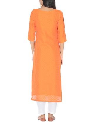orange chanderi straight kurta - 14510657 - Standard Image - 3