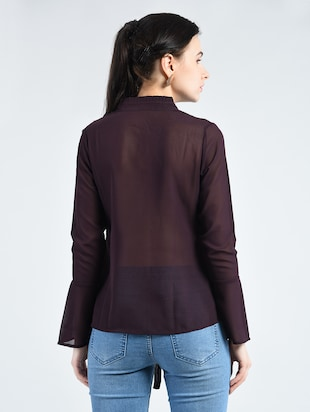 tie up neck button detail top - 14511611 - Standard Image - 3