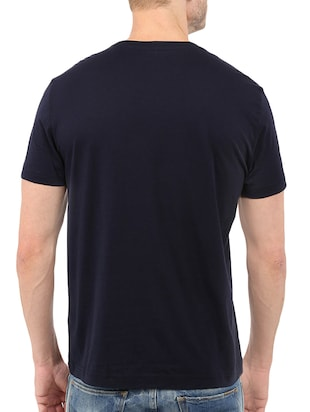 navy blue cotton chest print tshirt - 14512117 - Standard Image - 3