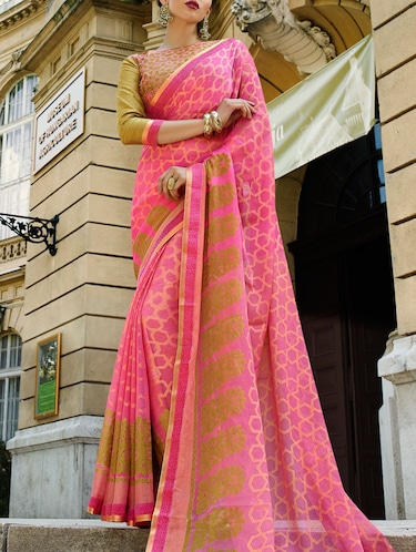 pink cotton printed saree with blouse - 14513561 - Standard Image - 1