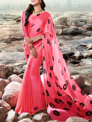 pink cotton printed saree with blouse - 14513619 - Standard Image - 1