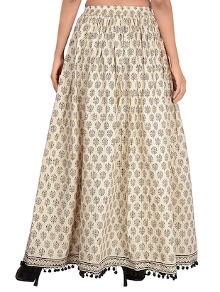 Beige cotton flared skirt - 14513705 - Standard Image - 3