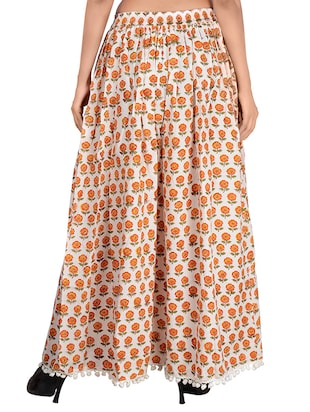 Orange cotton flared skirt - 14513708 - Standard Image - 3