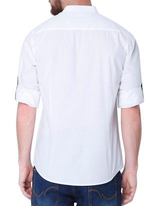 white cotton casual shirt - 14514091 - Standard Image - 3