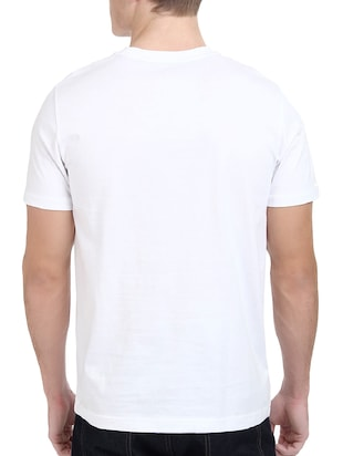 white cotton chest print tshirt - 14515825 - Standard Image - 3