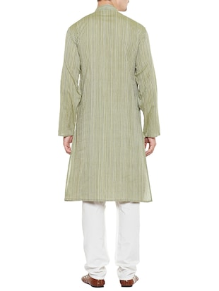 green cotton long kurta - 14517389 - Standard Image - 3