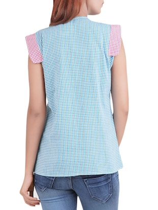 blue checkered top - 14519313 - Standard Image - 3