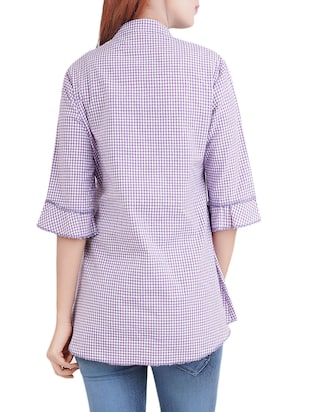 purple checkered cotton tunic - 14519322 - Standard Image - 3