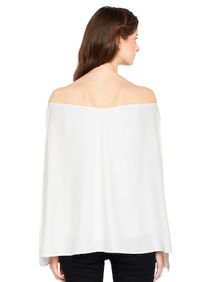 Slit sleeved off shoulder top - 14519341 - Standard Image - 3