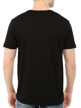 black cotton chest print tshirt - 14520040 - Standard Image - 3