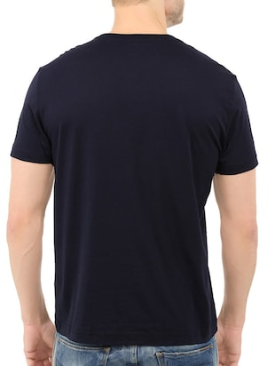 navy blue cotton chest print tshirt - 14521145 - Standard Image - 3