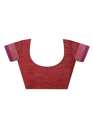 maroon cotton bordered saree with blouse - 14527238 - Standard Image - 3