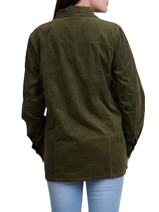 green cotton corduroy shirt - 14527839 - Standard Image - 3