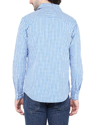blue cotton casual shirt - 14528991 - Standard Image - 3