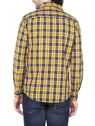 yellow cotton casual shirt - 14528993 - Standard Image - 3