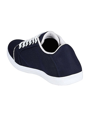 navy canvas lace up sneakers - 14529127 - Standard Image - 3
