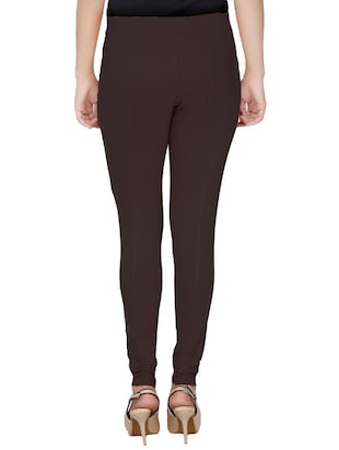 brown cotton lycra jeggings - 14529963 - Standard Image - 3