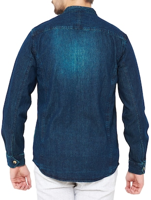 blue denim casual shirt - 14531159 - Standard Image - 3