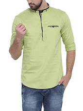 green cotton short kurta -  online shopping for Kurtas